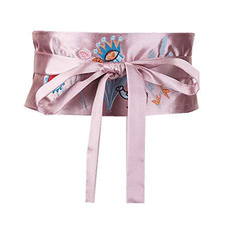 Damen Vintage Lässige Stretch Mode Krawatte Seil Gestickte Blume Gürtel Dekoration Langes Hemd T-Shirt Kleid Gürtel, Rosa, 65-95 cm -