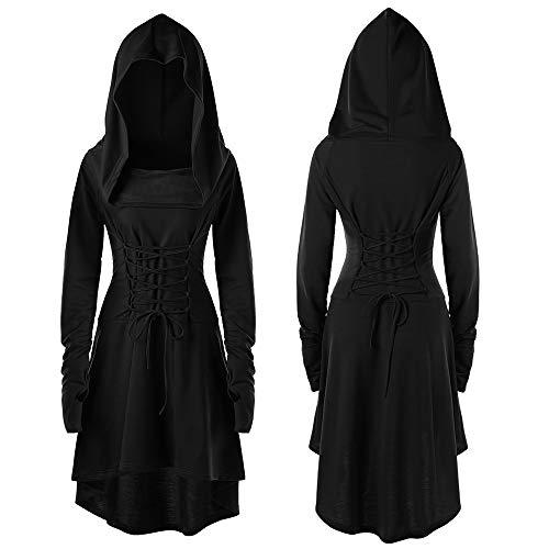 Mini Up Lace Kostüm - QinMM Damen Kostüme Lace Up Mit Kapuze Vintage Pullover High Low Bandage Langes Kleid Mantel Punk Retro-Stil