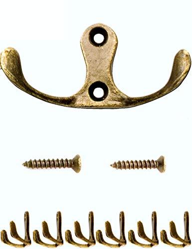 l-Haken | Garderoben-Haken, Handtuch-Haken Kleider-Haken | Guss-Eisen Messing Bronze Design | Vintage Landhaus Retro | 6er Set ()