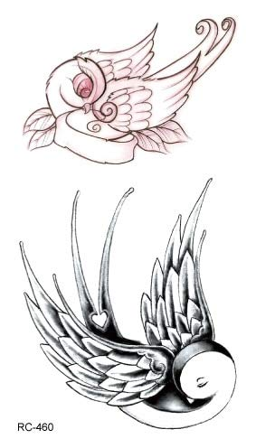 5pcs tatoo tattoo impermeabile bello uccello volante nuovi adesivi tatuaggio vecchia scuola flash tatuaggi tatoo per ragazza donna signora uomini