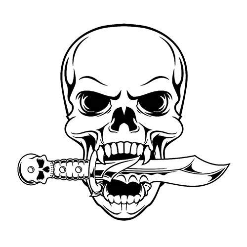 Crâne Halloween Dague Serpent Autocollant Punk Décalque Halloween Terreur Diable Affiche De Voiture Fenêtre Art Stickers Muraux Décorations Murales 58x63cm