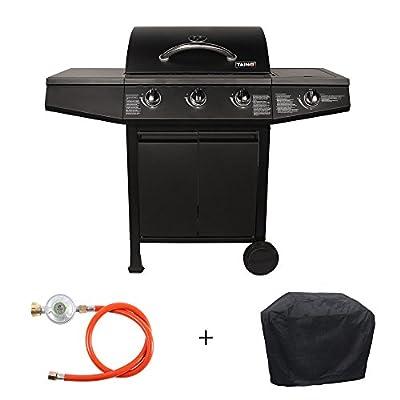 TAINO® Basic Gasgrill Grillwagen BBQ 3 Edelstahl-Brenner 1 Seitenkocher Gas-Grill TÜV im Set/Zubehör