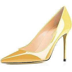 Lutalica - Zapatos de Vestir de Charol para Mujer, Color Amarillo, Talla 42 2/3