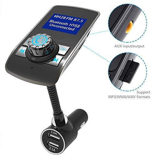 YCRD Émetteur FM De Voiture LED,Double Chargeur USB,Lecteur De Carte TF Mp3,Appels Mains Libres Bluetooth CVC