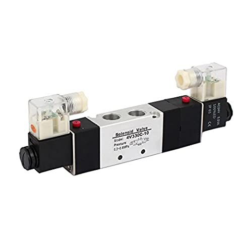 sourcingmap® AC 24V 3 Position 5 Way Double Head Pneumatic Solenoid Air Valve 4V330C-10