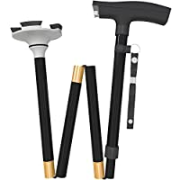 Travel Adjustable Walking Canes and Walking Sticks for Men and Women with Led Light and Cushion Handle for Arthritis Seniors Disabled and Elderly Best Mobility Aids Cane