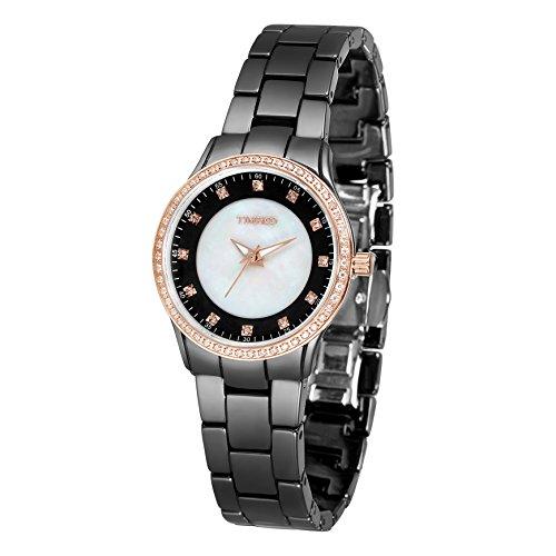 1dc3791c2cbe Time100 reloj cuarzo de mujer Fashion Reloj pulsera de joya case de concha para  mujer correa largo de color blanco material de cerámica