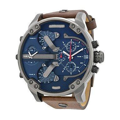 Fenkoo Herren Militäruhr / Armbanduhr Quartz Armbanduhren für den Alltag Leder Band Braun Marke