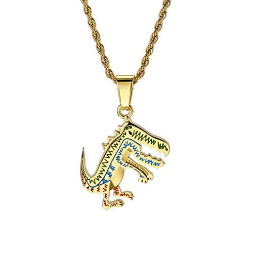 XINGYU Dinosaurier-Halskette, Männer und Frauen Mode Persönlichkeit Einfache Legierung Überzug Rostfreier Stahl Kette Metall Silber Gold Unisex-Anhänger, Gold