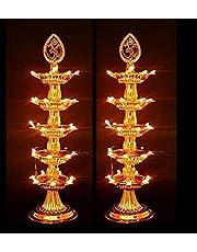 STARVIN 5 Layer Electric Gold LED Bulb Lights Diya/Deep/Deepak for Pooja/Puja/Mandir Diwali Festival Decoration S-03