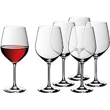 WMF Weinglas Rotweingläser Burgunder 6er Set easy Plus 23,5cm 700ml Kelch hochwertig edel Kristallglas spülmaschinenfest klar transparent farblos elegant bauchig