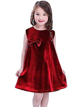 Samt Sommerkleid Kleinkind Kinder, DoraMe Baby Mädchen Bowknot Prinzessin Kleid Lässig ärmellose Solide Kleid...