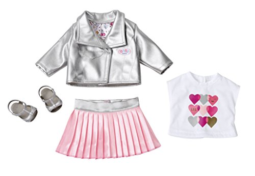 BABY born Deluxe Trendsetter Juego de ropita para muñeca - Accesorios para muñecas (Juego de ropita para muñeca, 3 año(s), Rosa, Plata, Blanco, 43 cm, Chica, 43 cm)