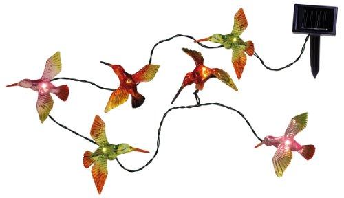 Best Season LED Solarlichterkette Birds / 6-teilig / warm weiß LED / Länge 1.7 m / bunte Kolibris / mit Solarpanel, inklusiv Akku / outdoor 477-66