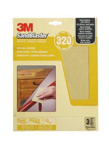 3M SandBlaster Hochleistungsschleifpapier Körnung P320/fein, 230 x 280 mm, 3-er Pack 60-320