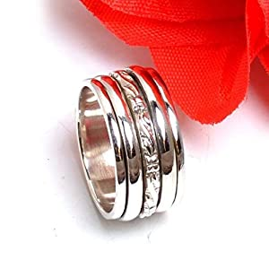 Anxiety Ring for Meditaion, Textured Ring, 925 Sterling Silver Spinner Band Rings for Women, Gift Ring for Mother's Day