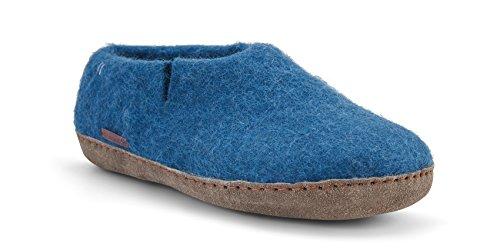 Betterfelt Handgefilzte Wollene Hausschuhe für Damen und Herren - Natürliche Wolle - Ledersohle - Größe 40 - Stahl Blau - Fairtrade - Klassische Filzschuhe
