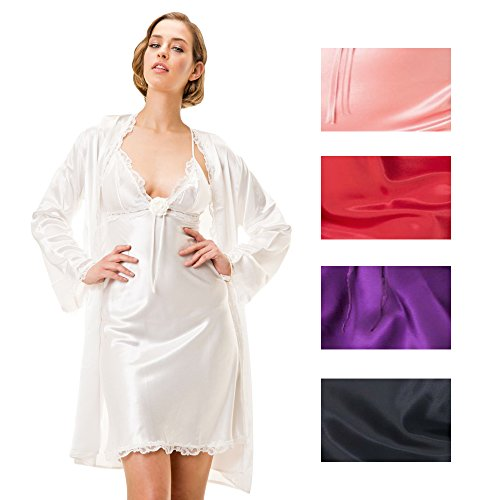 stylenmore - Robe de chambre - Kimono - Uni - Femme Noir - Noir