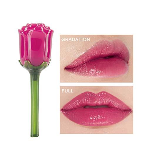 Lippenstift Rot Wasserfest Langlebig Liquid Lipstick Lipgloss Feuchtigkeitsspendende Lippenglasur Lip Gloss Rose Spiegelartiger Langanhaltend Blume Roter Neuer Geburtstag Festival Geschenk (D) -