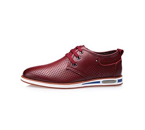 HYLM I pattini casuali dei sandali degli uomini di cuoio genuino di estate nuovi scaricano la versione coreana dei pattini respirabili delle cavità del foro Red
