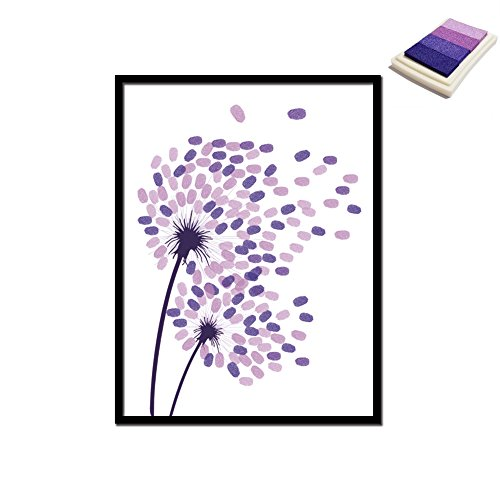 B-Redder Huile Toile Imprimante Réducteur de stress Anxiété Relive Bricolage Tissu d'empreintes digitales Toiles avec encres Frameless Mur décoratif, Mariage, Peinture de fête Affiche 40 * 30 cm (Violet)