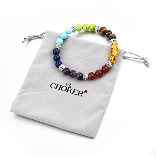 Hot And Bold Choker 7 Chakras Handmade Rainbow Round Bead Charm Bracelet for Women