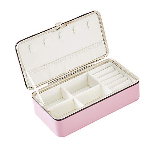 Schmuckschatullen, BS Small Schmucketui aus Kunstleder für Damen- und Mädchenringe, Ohrringe, Aufbewahrungsboxen für Schmuck mit Collier-Organizer, klein (Rosa-No Mirror)