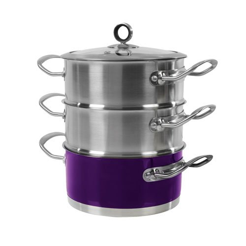 Morphy Richards 46383 - Vaporera de 3 pisos (18 cm), color morado