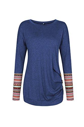 Junshan Langarm Shirt Damen Bluse Lange Ärmel Geblümter Pullover Elegant Sweatshirt T-Shirt Casual Slim Tops Blouse Oberteile Blau