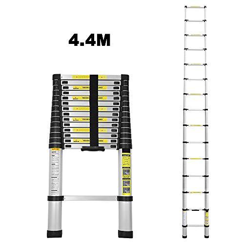 Escalera telescópica de aluminio 4,4M escalera plegable escalera multifunción fácil de transportar capacidad máxima de carga 150 kg