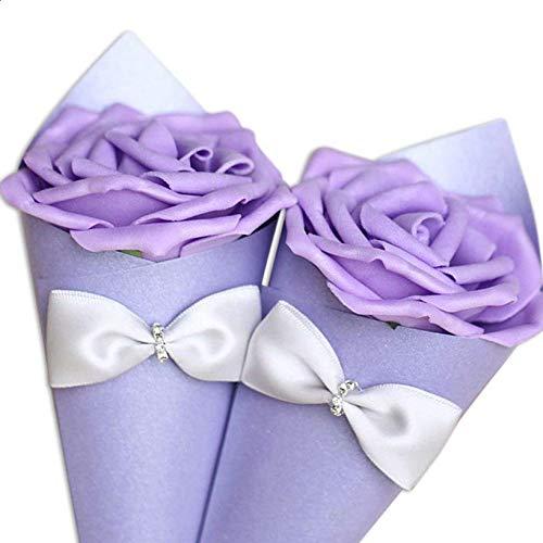 Lvcky European Cones Bouquet Wedding Candy Boxes Chocolate Gift Box with Flower Bonbonniere Party Deko Pack von 12 violett