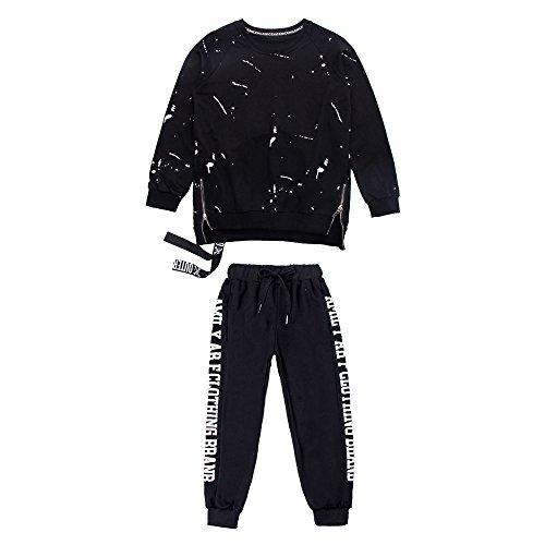 Moyuqi 1Set Jungen Loose Ballsaal Jazz Hip Hop Dance Wettbewerb Kostüm Kapuzenpullover Shirt Tops Hose, 140 cm