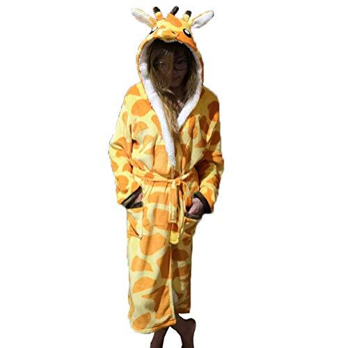 Damen Eltern-Kind-Familien-Jumpsuit Halloween Einhorn Kapuzenmantel Einteiler Fleece Kostüm Pyjama Super Soft Winter Paare Kigurumi Animal Cosplay Sherpa Housecoat für Unisex-Erwachsene und Teenager, giraffe, ()