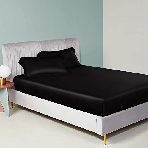 ElleSilk 100% Seide Bettlaken, Seiden-Spannbetttücher, 22 Momme Maulbeerseide, Super Weich und Bequem, Schwarz, 180 x 200 + 35 cm