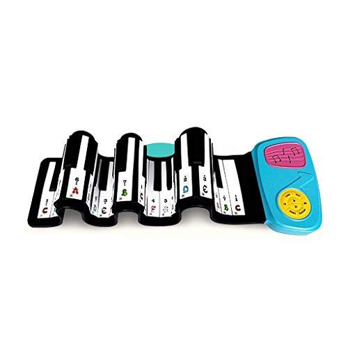AmtSkr Keyboard Hand Roll Soft Piano, 49 Key Children Es Keyboard Toy Beginner Students Portable Thick Keyboard Boy and Girl blau