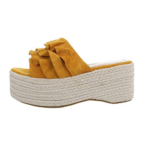 uhe Sandalen & Sandaletten Pantoletten Synthetik Gelb Gr. 41 ()