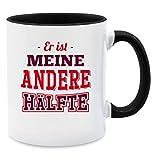 Partner Tassen - Er ist meine andere Hälfte - Unisize - Schwarz - Q9061 - Kaffee-Tasse inkl. Geschenk-Verpackung
