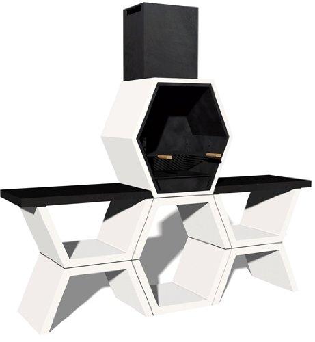 Hogar Decora Barbacoa de Obra máximo diseño y calidad,Dehormigón bruto hidrófugo blanco y negro, 221 x 50 x 205CM