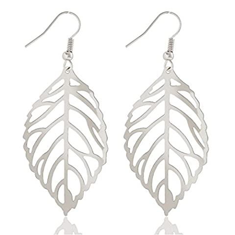 Buy ANY 2 & get 1 FREE! Silver Leaf Earrings Unique Fashion Jewellery Easy Tree Bird Branch Leaf Diamond Jewellery Vintage Hot Fashion Trend Ladies Jewelry Jewellery Vintage Hot Fashion Trend Ladies Jewelry (Silver Leaf