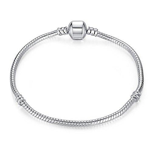 Bracciale Argento 17a 20cm per Charms stile Pandora Charm europea Cofanetto Regalo per Truly Charming