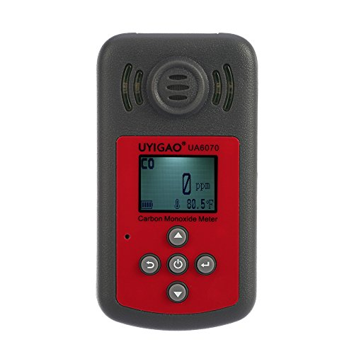 UYIGAO Handheld Tragbar Kohlenmonoxid Gasmelder, Hohe Präzision CO Gasprüfgerät, Monitor Gasdetektor mit LCD Bildschirm, Sound und Licht Alarm 0-2000 ppm