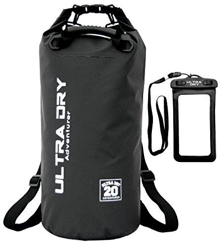 Ultra Dry Wasserdichte Tasche/Sack, Trockentasche Premiumqualität, wasserdichter Handybeutel und langer, verstellbarer Schultergurt inklusive, geeignet zum Kajak-, Boot-, Kanufahren/Angeln/Rafting/Schwimmen/Camping/Snowboarden, schwarz, 20 l (Für Kajak)