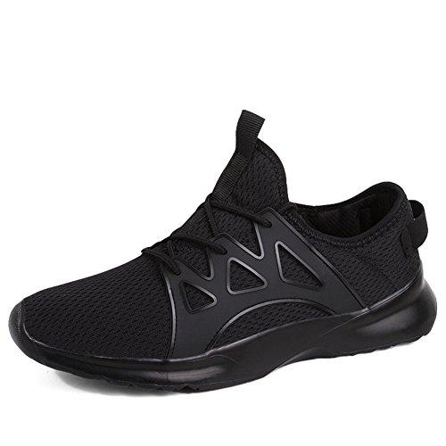 populalar Uomo Scarpe da Ginnastica Sportive Running Atletico Allacciare Sneakers Nero Rosso Bianco Black 44 EU