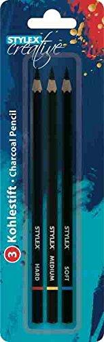 STYLEX 28694 Kohlestifte, Drei Verschiedene Härtegrade, 3-er Set