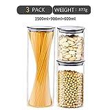 JIANCHI Contenitori per Alimenti con Coperchi Ermetici, Dispenser BPA E Plastica per Alimenti, Dispenser per Spaghetti E Cereali (Set di 3 Pezzi)