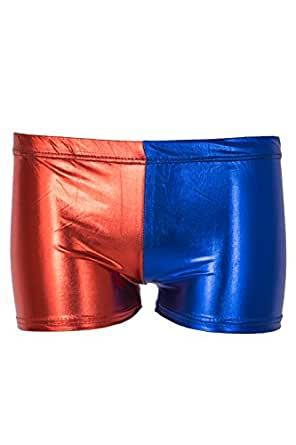 Noroze Damen Kotrastfarbige Shorts Frauen 2 Farbton Hot Pants (Rot Blau 002, 36)