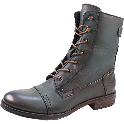 Mustang 2853-516 Schuhe Damen Stiefeletten Chelsea Boots Schnür-Booty, Schuhgröße:40, Farbe:Grün