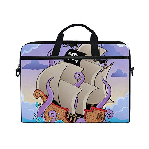 Ahomy 14 Zoll Laptop-Tasche, Piratenschiff mit Tentakeln im Sturm, Canvas, Laptoptasche, Bussiness Handtasche mit Schultergurt für Damen und Herren