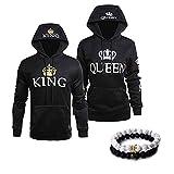 918coshiert King Queen Pärchen Pullover & Armbänder Armband Paar Hoodie Sweatshirts (Herren M+Damen M Schwarz)