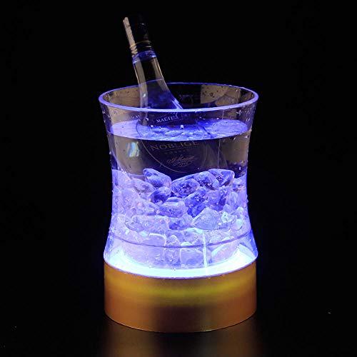 Velliceasay Farbe Licht Bar Eiskübel EIS Bierfass Blei Lade Champagner Eiskübel KTV Wein, sehr geeignet für Party, Eiskübel Champagner und Bierkühler, weißes Licht (Led Champagner Gläser)